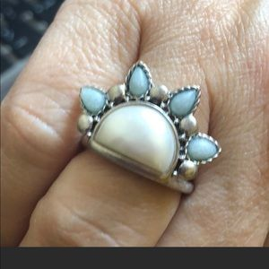 Natural stones ring set in silver tone size 7